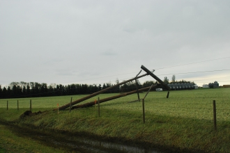 Downed powerlines east of Millet