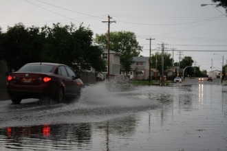 Flooded streets in Wetaskiwin