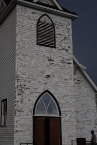 Hail damage to a church near Millet