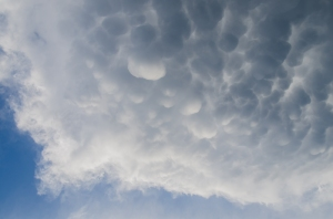 Mammatus clouds on the back end of the 2nd storm as seen from the Millet area